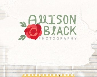 Premade Logo Design - Rose Logo Premade - Business logo design - Blog Logo - Photography business logo - Hand Drawn Logo