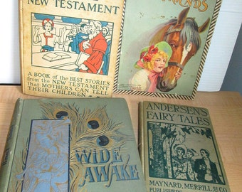 Lot Four Vintage Antique Victorian Childrens Books Storybooks Andersen Fairy Tales Animals Bible More