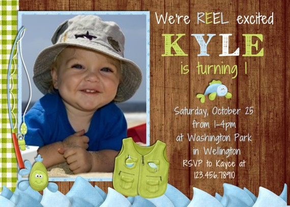 Rustic Wood Gone Fishing Boy Birthday Invitation - Fish and Rod Daddy's Fishing Buddy Printable Invite