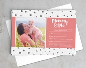 Mommy & Me Mini Session with watercolor polka dots and brush script -- Customizable Template, Instant Download