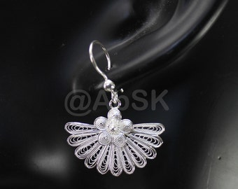 Thailand Handmade 925 STERLING SILVER Filigree fan Shape Dangle Earrings Fil9