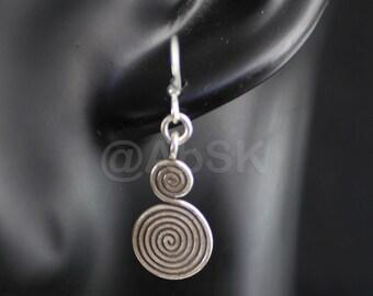 Thai KAREN HILL Tribe 98% SILVER Handmade 42mm S Spiral Dangle Earrings KE12