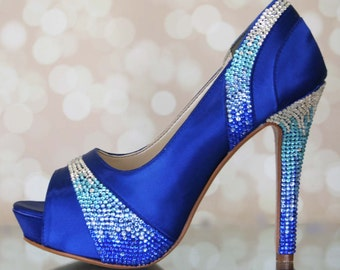 Wedding Shoes -- Royal Blue Platform Peep Toes with Blue Crystal Ombre Heel and Pleats