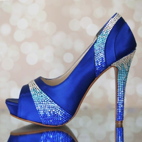 Wedding shoes royal blue platform peep toes with blue like this item junglespirit Image collections