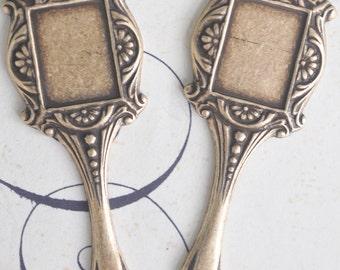 Neo Victorian brass mirror charms, brass ox