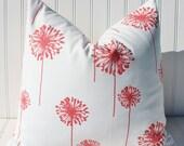 Coral Pillows, Throw Pillow, Decorative Pillows, Coral Pillow Cover, Cushions, Dandelions,  Accent Pillow, Cushion