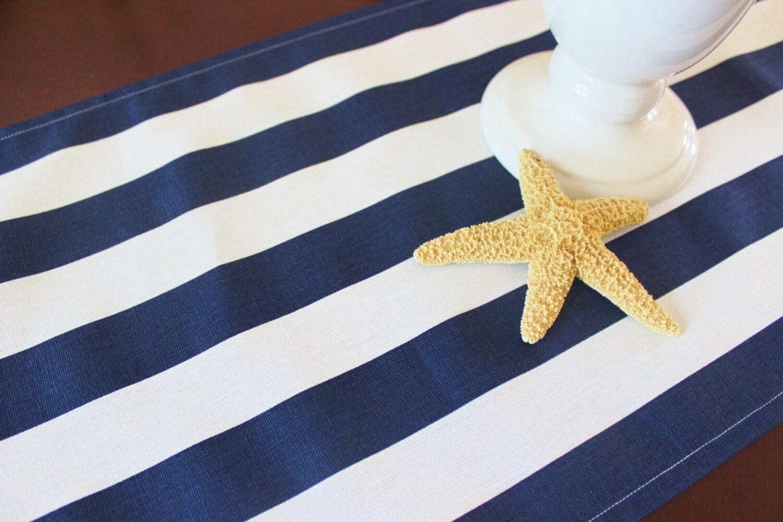 Navy Stripe Table Runner Tablecloth Runner Navy Blue And White