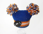 Any Color - Any Size - Team Spirit Crochet Beanie with Football Applique - Boy or girl - Double pom pom hat