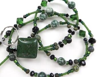 ENCHANTED FOREST- Beaded ID Lanyard- Copper Green Jasper Gemstones, Jungle and Spot Jasper, Russian Serpentine, Black Crystal Beads