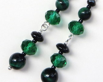 EMERALD EVENING- Long Dangle Beaded Earrings- Green Tiger's Eye Gemstones and Sparkling Crystals- Stainless Steel French Hook Earwires