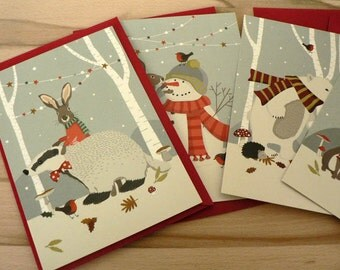 Set of 4 Christmas postcards
