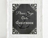Instant Download Printable DIY Bridal Shower Wedding Sign, Please Sign Our Guestbook, Nautical Beach Anchor,Rustic Ocean Decor Chalkboard