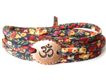 Liberty fabric Om bracelet, wrap bracelet with colourful meadow flower print, meaningful bracelet gift for best friend