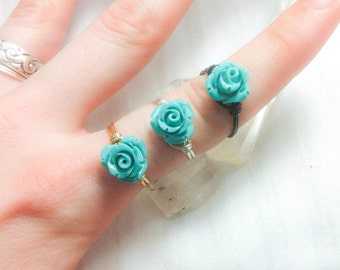 Spirit of The Desert - Turquoise Rose Bud Ring - Wire Wrapped Unique - Made to Order