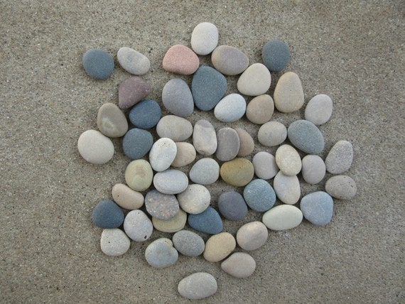 50 smooth flat beach stones mosaic craft supplies by for Flat stones for crafts