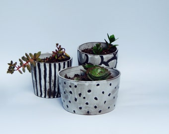 Set of THREE hand-thrown black and white succulent pots