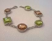 Vintage Sterling Silver and Crystal Bracelet - Light Green and Light Copper Colored Crystals - Chain Bracelet