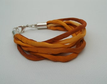 One-of-a-Kind Hand Painted Silk Cords Bracelet in Shades of Orange - Unique OOAK Handmade Bracelet