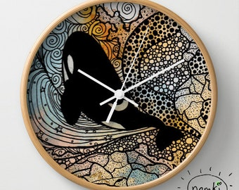 Orca Clock, Orca Home Gift, Orca Decor, Orca Nursery, Orca Wall Decor, Orca Nursery Decor, Orca Home Decor, Orca Room Decor, Orca House Gift