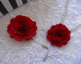 Red Rose Boutonniere ~ Mens Lapel Pin ~ Groomsmen Flower