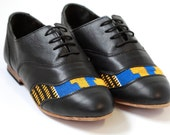 Women's Black Leather Brogues with handwoven Kente fabric detail