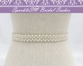 Rhinestone Bridal Sash, Rhinestoneand Crystal Wedding Belt, Rhinestone Pearls Satin Sash, Jeweled Beaded Sash, Bridal Accessories, Arden