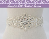 Bridal Sash Belt, Rhinestone Sash, Wedding Belt, Wedding Dress Sash, Embellished Rhinestone Beaded Sash, SparkleSM Bridal Sashes, Kenna