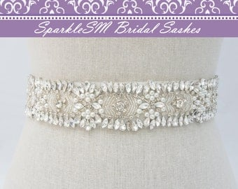 Rhinestone Crystal Bridal Belt, Jeweled Belt, Rhinestone Sash, Wedding Belt, Bridal Accessory, Wedding Sash, Crystal Bridal Sash, Rosalie