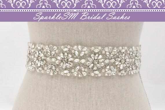Rhinestone Crystal Bridal Belt Sash, Wedding Sash Belt, Bridal Accessories, Crystal Belt Sash Bridal Belt Bridal Sash, SparkleSM - Regan