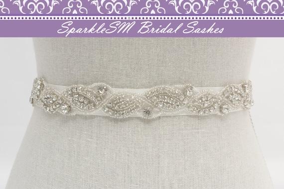 Stunning Crystal Bridal Sash Rhinestone Bridal Beaded Rhinestone Sash Wedding Sash Jeweled Bridal Sash,SparkleSM Bridal Sashes, Portia