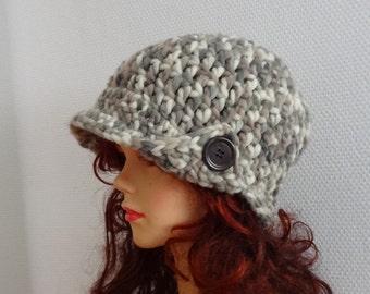 Women's crochet hat with buttons women hat Crochet Womens Cloche Hat Winter Accessories Autumn Fashion Flapper Hat Cloche Womens Accessories