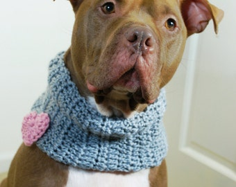 Crochet Dog Cowl Grey with Pink Heart