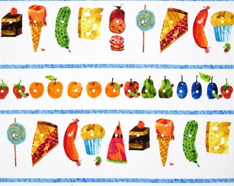 ANNIVERSARY SALE (Yardage Only) -The Very Hungry Caterpillar Food Stripes From Andover Fabrics by Eric Carle