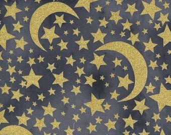 Metallic Gold Moon & Stars on Graphite Grey from Michael Miller