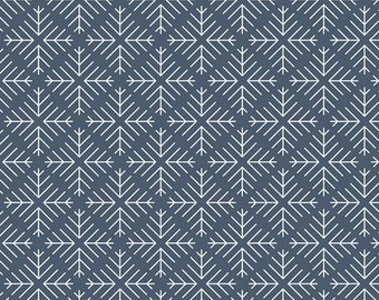 Curiosities Collection - Caught Snowflakes Navy from Art Gallery - Choose Your Cut