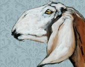 Anglo Nubian Goat Greetings Card, with patterened wallpaper background