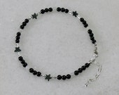Black tourmaline with moonstones and hematite star spacers anklet for ladies