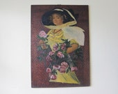 RESERVED FOR GLENN Antique Victorian Lady Decoupage Art ~ Paris Bedroom Wall Decor, Unique Vintage Housewarming Gift, Present for Newly Weds