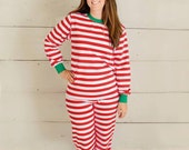 Adult Monogrammed Personalized Red Striped Christmas Pajama Set to Match Children's Pajamas