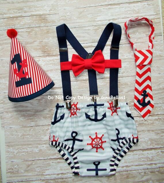Nautical Birthday Cake Smash Outfit Chevron Anchor By