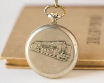 Chunky pocket watch Molnija, locomotive ornament men's pocket watch, silver shade rare pocket watch Soviet, open face case watch