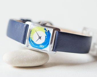 Woman's watch upcycled, square blue lettuce green watch, lady wristwatch mechanical, girl's summer watch, new premium leather band