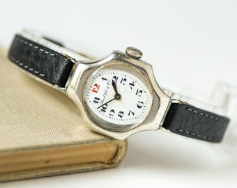 Antique lady's watch Borel Fils & Cie, very rare Swiss woman wristwatch, hallmark 0.875 silver watch working, premium leather strap new