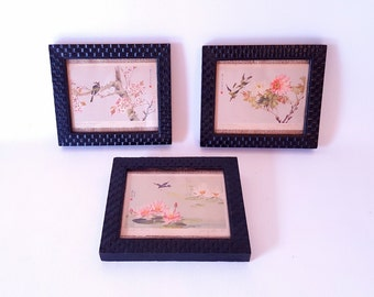 Vintage Set of 3  Framed Water Color Prints Asian Motif Flowers Birds Water Color Asian Cottage Home Decor Under 40 Gift idea