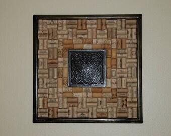 Wine Cork Board with Tin Centerpiece