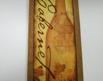 Cabernet Wine Wooden Kitchen Wall Art Sign