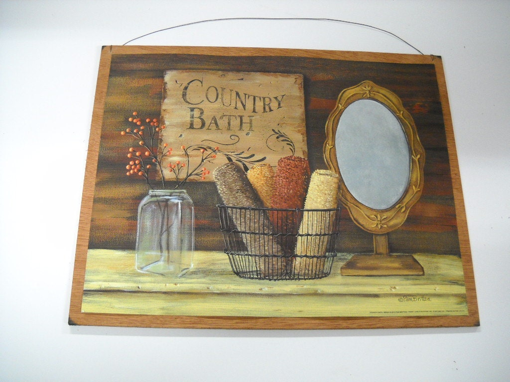 Country Bathroom Decor: Country Bath Wooden Sign Bathroom Art Towels Mirror Berries