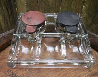 Antique Glass inkwell with bakelite lids