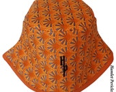 African Wax Print Unisex Bucket Hat, Orange and Blue Sunrise Hat by Hamlet Pericles