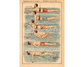 SWIMMING SWIMMERS swimming pool summer water pool print